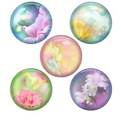 Digital collage sheet flowers, 1 inch circles bottlecaps - 12 designs 30mm  and 25mm soft floral pastel