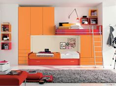 Dielle White Based Kids Rooms with Colorful Furniture : White Based Beautiful Shared Kids Room with Grey Fur Rug and Orange Large Closet