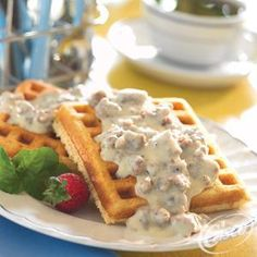 Classic Corn Meal Waffles with Sausage and Gravy from Crisco®