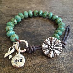 "Rustic Turquoise Knotted Wrap Bracelet, Cancer Ribbon, Beaded Jewelry, ""Love""  by Two Silver Sisters twosilversisters"