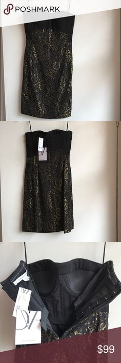 NWT! Diane Von Furstenberg mini dress, size 2 Gorgeous NWT black mini dress with gold overlay and sweetheart neckline. Attached bodice makes it so this dress actually stays in place and doesn't slip down! Retails for $365. Pristine condition!!! Diane von Furstenberg Dresses Mini