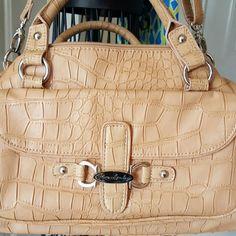 Kate Landry Large Medium Sized Purse Lovely reptile skin design.  Has shoulder and satchel straps. Like new. 13.5x9.5x3. Kate Landry Bags Shoulder Bags