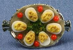Dollhouse Deviled Eggs On Serving Tray