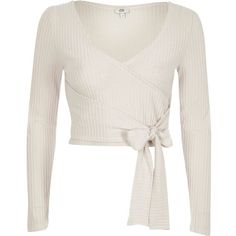43c58897d26ebb River Island Cream brushed rib wrap front crop top (54 CAD) ❤ liked on Polyvore  featuring tops, shirts, crop top, cream, plain t-shirts / vests, women, ...