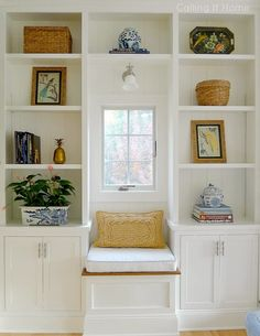 simple shelves Calling it Home: One Room Challenge - My Family Room