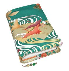 Large Bible Cover or Book Cover, Silk Kimono Fabric, Suitable for Hardback Books or Paperback Books, Flying Cranes on Green, UK Seller Furisode Kimono, Kimono Fabric, Silk Fabric, Silk Kimono, Bible Covers, Book Covers, Fabric Gifts, Vintage Kimono, Book Lovers Gifts