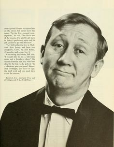 """The Ohio Alumnus, March 1965. """"Bill McCutcheon: A Household Face."""" """"...During the past two years the 1948 Ohio University graduate's face has become as familiar to television viewers as that of members of their own families..."""" McCutcheon was a regular on CBS' """"The Entertainers"""" and """"Mr. Mayor"""". :: Ohio University Archives"""