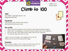 Grade 2/3/4 game, climb to 100. Blog freebie?