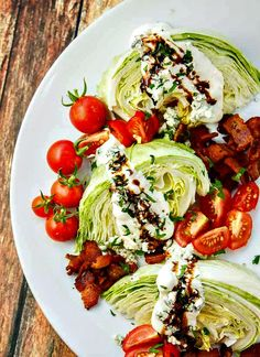 The secret to this simple wedge salad is taking five minutes to reduce your balsamic into a sweet, syrupy treat! Simple way to serve salad at a dinner or holiday gathering. Just load it all up on one plate and pass at the table!