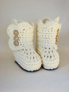 Crochet Baby Boots. Custom sizes and colors available. Leather sole for more durability. Only $18.00, via Etsy!
