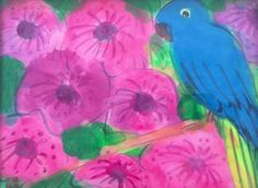 Walasse Ting / found on www.kunzt.gallery / Blue parrot and flowers, +-1990 / Acrylic on paper