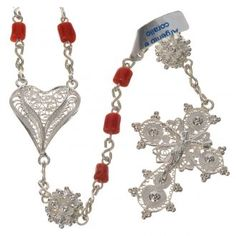 Rosary beads in 800 silver and coral | online sales on HOLYART.co.uk