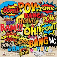 CLIPART Comics Speech Bubble Text ClipArt von GraficaStore auf Etsy
