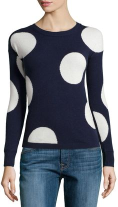 Philosophy Cashmere Cashmere Polka-Dot Sweater, Navy/Snowflake http://stylesvogue.com/topic/shoes/
