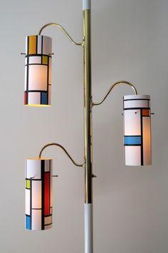 Vintage Pole Lamp Light Mondrian Inspired Geometric MCM Mid Century Modern | eBay