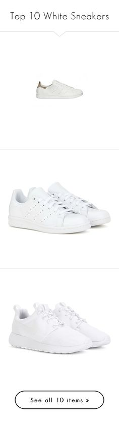 """""""Top 10 White Sneakers"""" by lexixoxo87 ❤ liked on Polyvore featuring shoes, sneakers, adidas, zapatos, white, adidas trainers, white trainers, adidas shoes, white leather shoes and white shoes"""