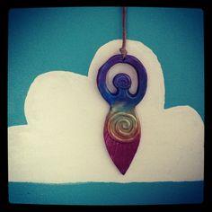 Rainbow Chakra Goddess hanging ornament. $15.00, via Etsy.