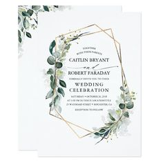 Shop Eucalyptus Greenery Geometric Modern Birthday Invitation created by lovelywow. Personalize it with photos & text or purchase as is! Engagement Party Invitations, Simple Wedding Invitations, Bridal Shower Invitations, Wedding Stationery, Wedding Envelopes, Engagement Parties, Baptism Invitations, Birthday Invitations, Graduation Invitations