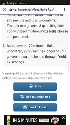 Spiral Pepperoni Pizza Bake