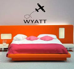 Personalized Child's Name & Airplane Boys  Bedroom vinyl wall lettering art home decor children kids nursery decal sticker