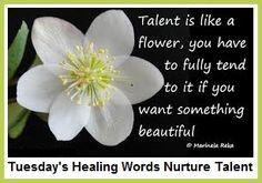 Tuesday's Healing Words Nurture Talent... balancedwomensblog.com