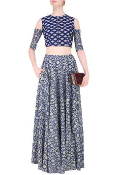 Blue and beige printed split sleeves crop top with high waisted lehenga skirt by…
