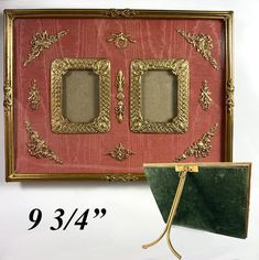 """Antique French Dore Bronze Easel Stand Frame, Appliques and Moire Silk, 9.75"""" Wide, Double Aperture Antique Frames, Old Ones, Aperture, Easel, French Antiques, Appliques, Miniatures, Bronze"""