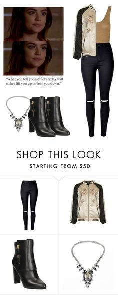 """""""Aria Montgomery - pll / pretty little liars"""" by shadyannon ❤ liked on Polyvore featuring Topshop and GUESS"""