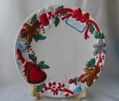 Santa's Cookie Plate Christmas Plate Gingerbread Men Christmas Children