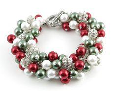 Christmas in July!  Christmas Bracelet Holiday Bracelet Pearl by LucidDreamsJewelry, $48.00