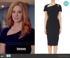 Donna's black dress with asymmetric neckline on Suits. Outfit Details: https://wornontv.net/59494/ #Suits