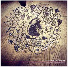 Original Bird wreath papercut. Hand drawn and hand cut by Emma Boyes