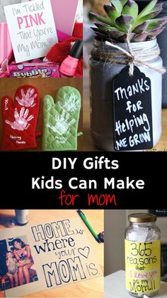 Gifts Kids Can Make Easy Homemade DIY Gift ideas for kids to make for Christmas, Mother's Day, Birthday gifts and more for mom, grandmother, granny, aunt, uncle, dad, etc.  Creative DIY Gift Ideas for children to give as presents for any holiday - http://involvery.com/diy/diy-gifts-for-mom-from-kids/