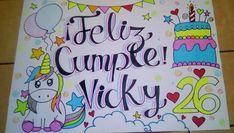 #cumpleaños #unicornio #cartelpersonalizado Doodles Bonitos, I Love Him, Art Drawings, Graffiti, Presents, Clip Art, Valentines, Lettering, Activities