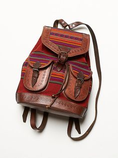 Shop Free People's beautiful boho bags, fringe purses, vegan totes, and more. Accessorize your outfit with a statement handbag that you could carry forever! Backpack Bags, Leather Backpack, Leather Bag, Drawstring Backpack, Rucksack Bag, Hippie Style, Boho Style, Fashion Bags, Fashion Backpack