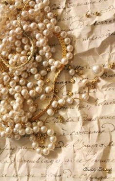Pearls on a gold necklace