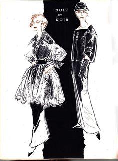 MADELEINE RAUCH (LEFT), DIOR IN JARDIN DES MODES SEPTEMBER 1955
