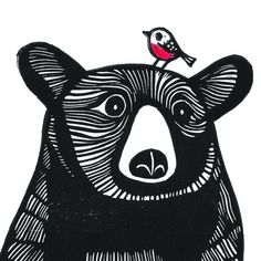 Bear and Robin, Original Linocut Print, Signed Limited Edition of Free Postage in UK, Hand Pulled, Printmaking - This Bear and Robin is an original linocut print (NOT a digitally reproduced print). Linocut Prints, Art Prints, Block Prints, Illustration Art, Illustrations, Linoprint, Guache, Bear Art, Sgraffito