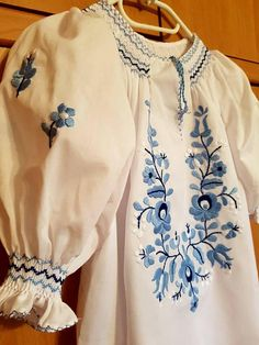 Hungarian White and blue Blouse Floral handembroidered