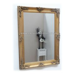 Think this is the best choice, as when hung landscape, it'll be just about shorter than the width of the bed on each side, so it can be set centrally. Abby Mirror Rectangle Gold 112 x - - Mirrors for Every Interior from Exclusive Mirrors Wood Framed Mirror, Gold Mirrors, Traditional Frames, Shabby Chic Homes, Oversized Mirror, Interior, Wall, House, Bedroom Ideas