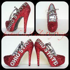 Ohio State Glitter High Heels by ChelsieDeyDesigns on Etsy