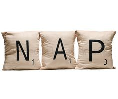 Set of 3 SCRABBLE LETTER decorative pillow cases cushion covers -- NAP or choose any 3 letters on Etsy, $43.00