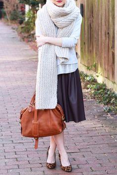 Poor Little It Girl - J.Crew Sequin Sweatshirt and Oversized Knit Scarf