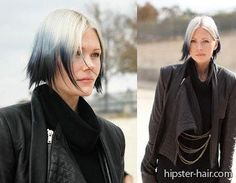 ombre gradient short white black straight hair