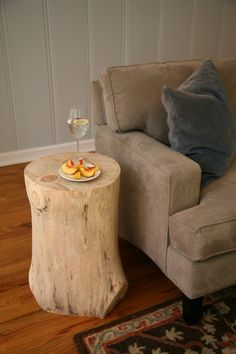 Tree Stump Table from fallen pine tree on our honeymoon by tommie