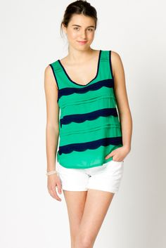 Scallop & Pintuck Woven Tank --- love the layers and colors