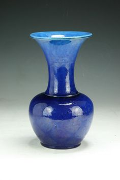 Chinese Antique Blue Glazed Porcelain Vase: of Late Qing Dynasty; Size: H: 9""