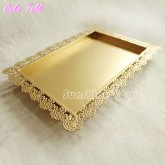 Gold rectangle cake tray stand wedding dessert lace edge plate 26*36 cm cake decorating tools for lollipop sliver tray -in Stands from Home & Garden on Aliexpress.com | Alibaba Group