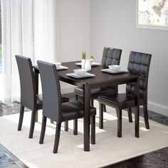 CorLiving Atwood 5-piece Dining Set with Dark Brown Leatherette Seats (5pc Dining Set, Dark Cappuccino and Dark Brown), Size 5-Piece Sets