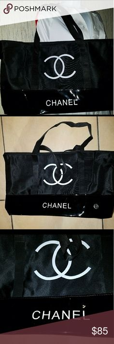 """Chanel VIP Tote Bag New Authentic Chanel Large VIP Nylon Tote Bag. Bag is a large bag that measures 12""""H x 17"""" W. Bag is great for day to day, has an open inside pocket with a zip closure. Chanel VIP Counter Bag. Has all its original packaging. CHANEL Bags Totes"""